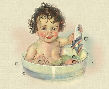 The cute poem is perfect for this adorable baby.  If she could, she would spell bath time F-U-N- Time. :o)