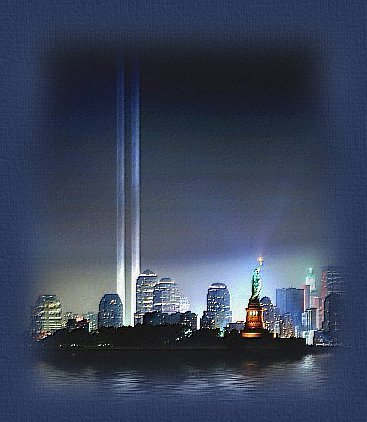 Graphic illustrates beacons of hope and love rising from where New York's twin towers stood before the 9-11 attack on America.