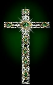 Beautiful jeweled emerald cross. Are you burdened with alcohol  or drug addiction? Take it to Jesus at the cross.