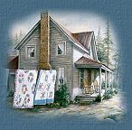 Farm house with quilts hanging on line graphic.