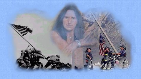 Graphic designed from photo's of the raising of the flag at Iwo Jima  by Ira Hayes and other Marines, and at the World Trade Center by firemen. In remembrance  of the terrorist attack 9-11.