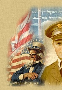 Patriotic image of a soldier, Uncle Sam, and US Flag.