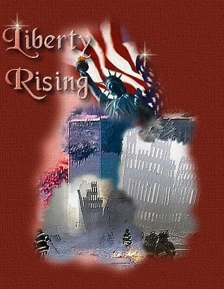 LIBERTY RISING title graphic depicts statue of liberty and American flag over trade center towers after 9-11 attack on New York.