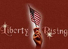 Liberty Rising Words and graphic of hand holding flag.