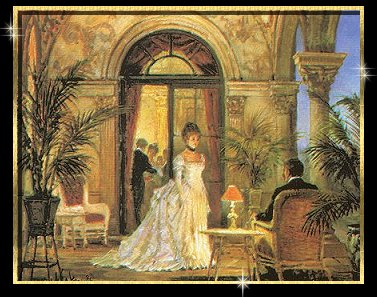 Graphic of man and woman in romantic setting.