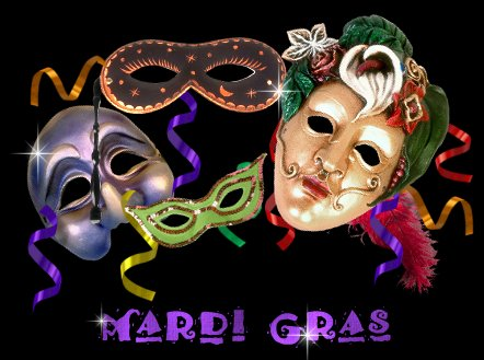 Beautiful, wonderful, colorful Mardi Gras mask and title graphic.