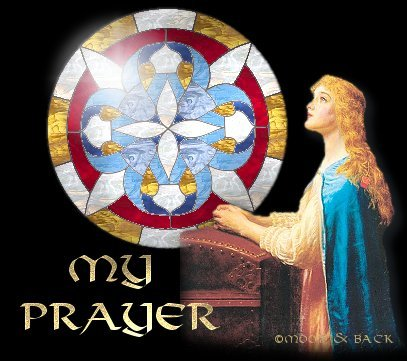 MY PRAYER title graphic with stained glass and woman in prayer.