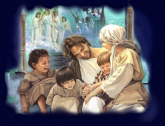 Picture of Jesus with children in Heaven.  Top graphic for My Son Lives in Paradise poem
