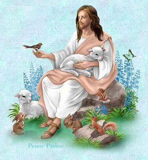 Jesus holding a sparrow, and a lamb. His Eye Is On The Sparrow.