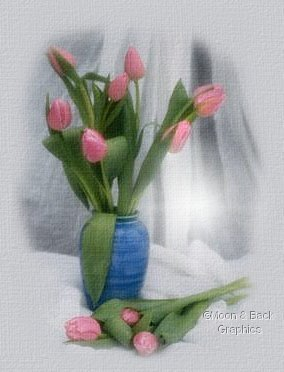 Vase of beautiful tulips...graphics by moonand backgraphics.com