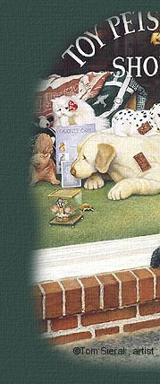 Image of puppy looking in shop window has been made by Moon & Back Graphics from a painting by Tom Sierak.