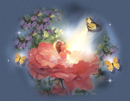 Lovely little angel in a flower graphic.
